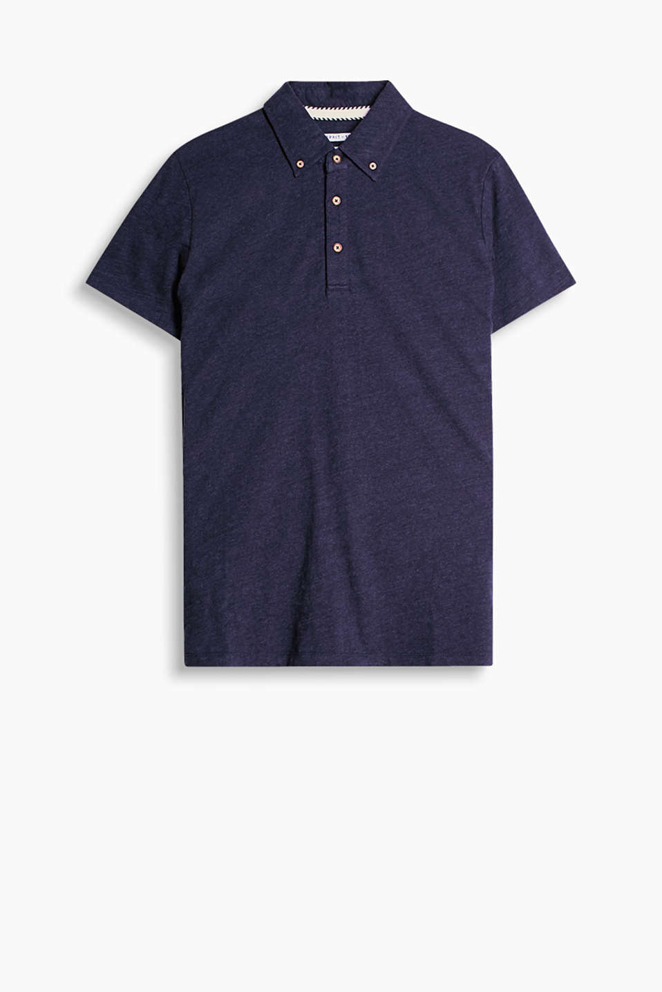 Polo shirt with button-down collar, made of 100% cotton