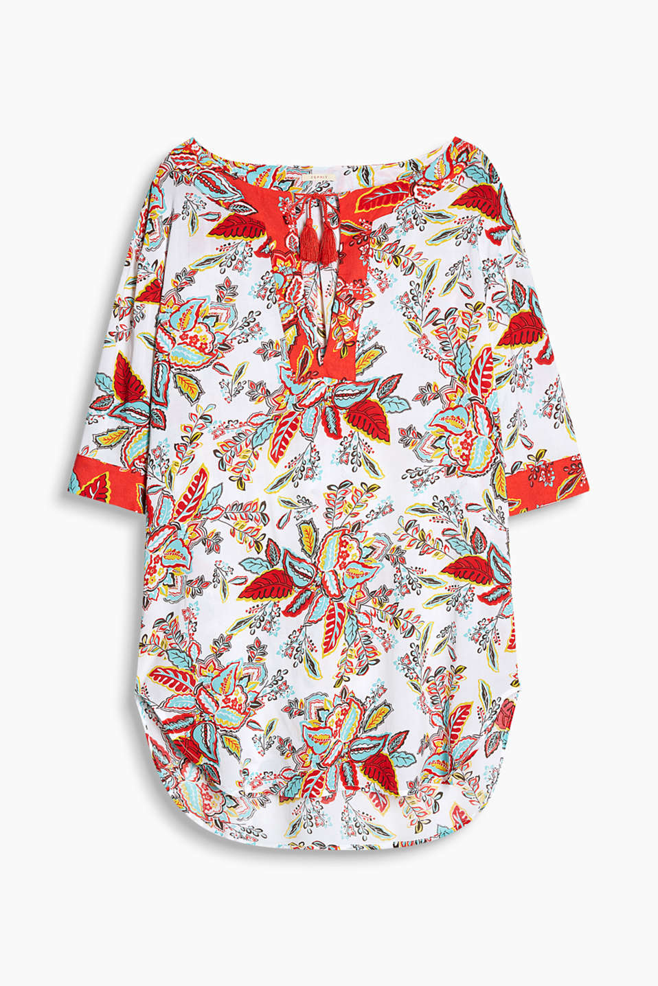 Collection: DORNER - Flowing beach tunic with a colourful floral print and tassels
