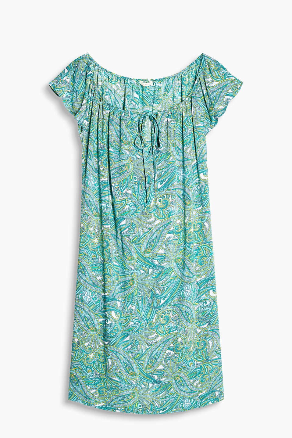 Collection: DORNER - Tunic style dress with a Carmen neckline, decorative paisley print and a tie-around belt