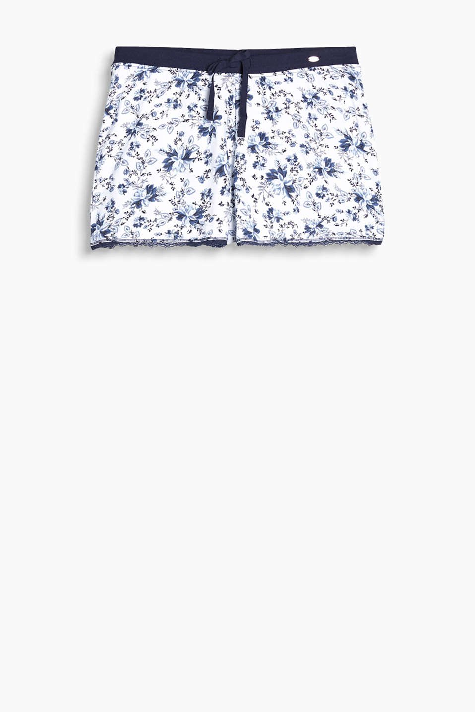 Pyjama shorts in 100% cotton with an all-over floral print