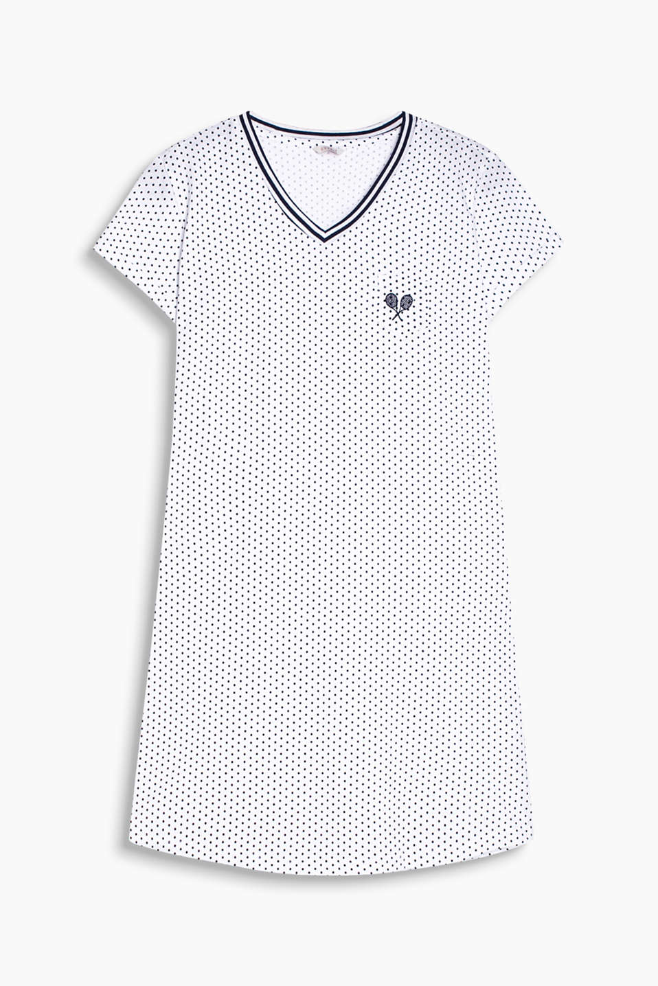 Lightweight piqué nightshirt with a polka dot pattern