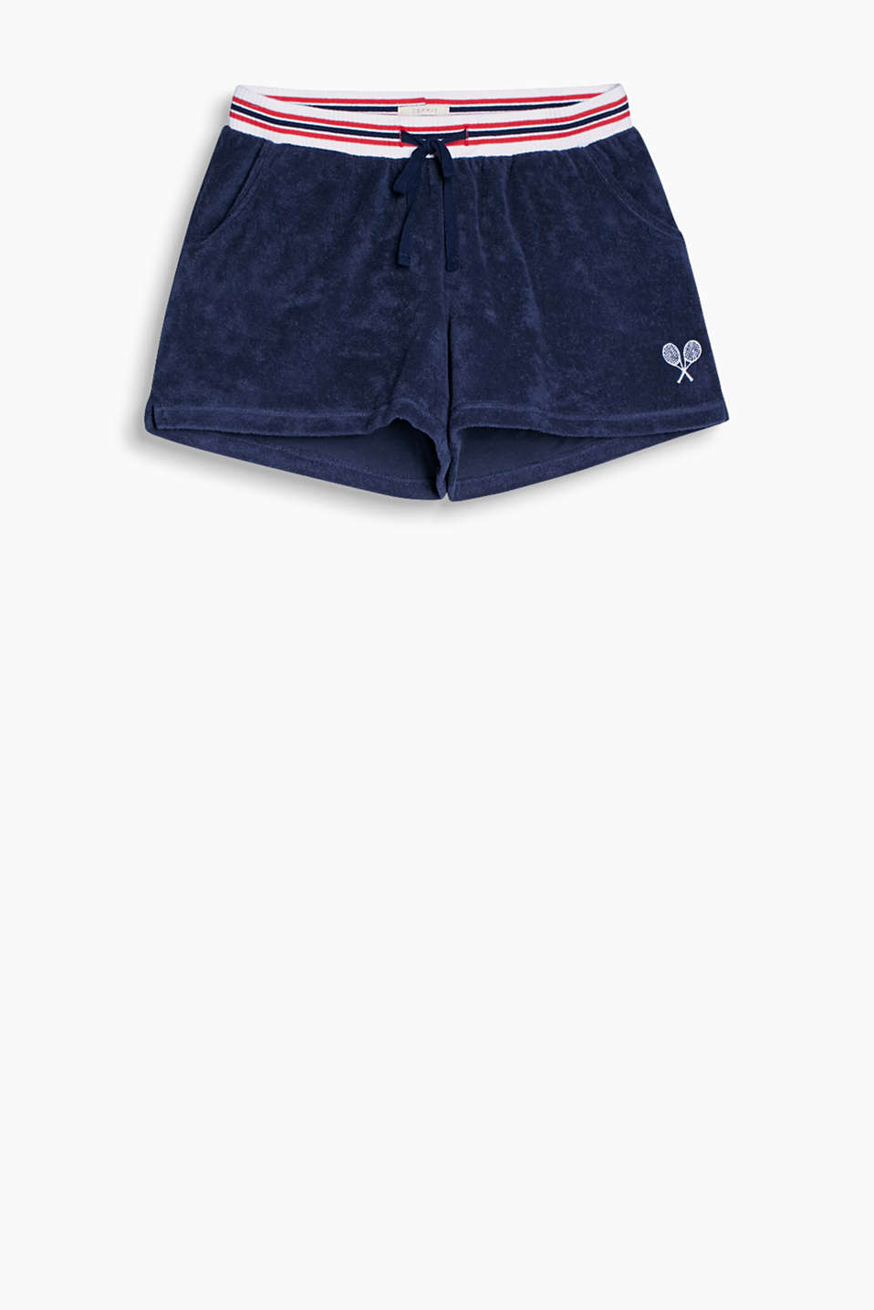 Sporty terrycloth shorts in a tennis look with a striped elasticated waistband and a small appliqué