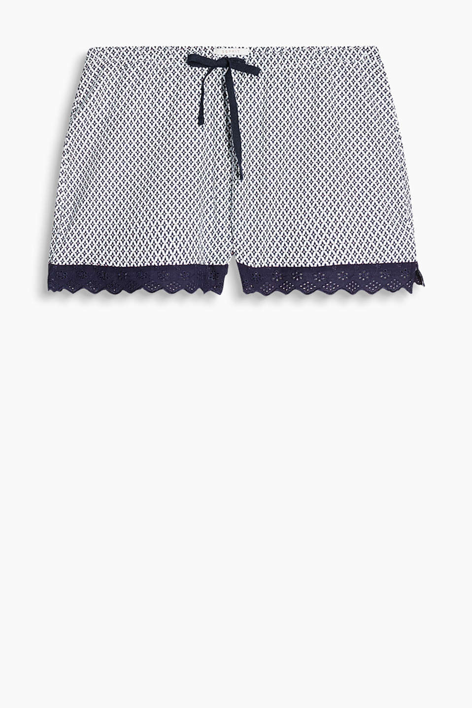 Soft jersey shorts with a minimalist print and hem trims with broderie anglaise, 100% cotton