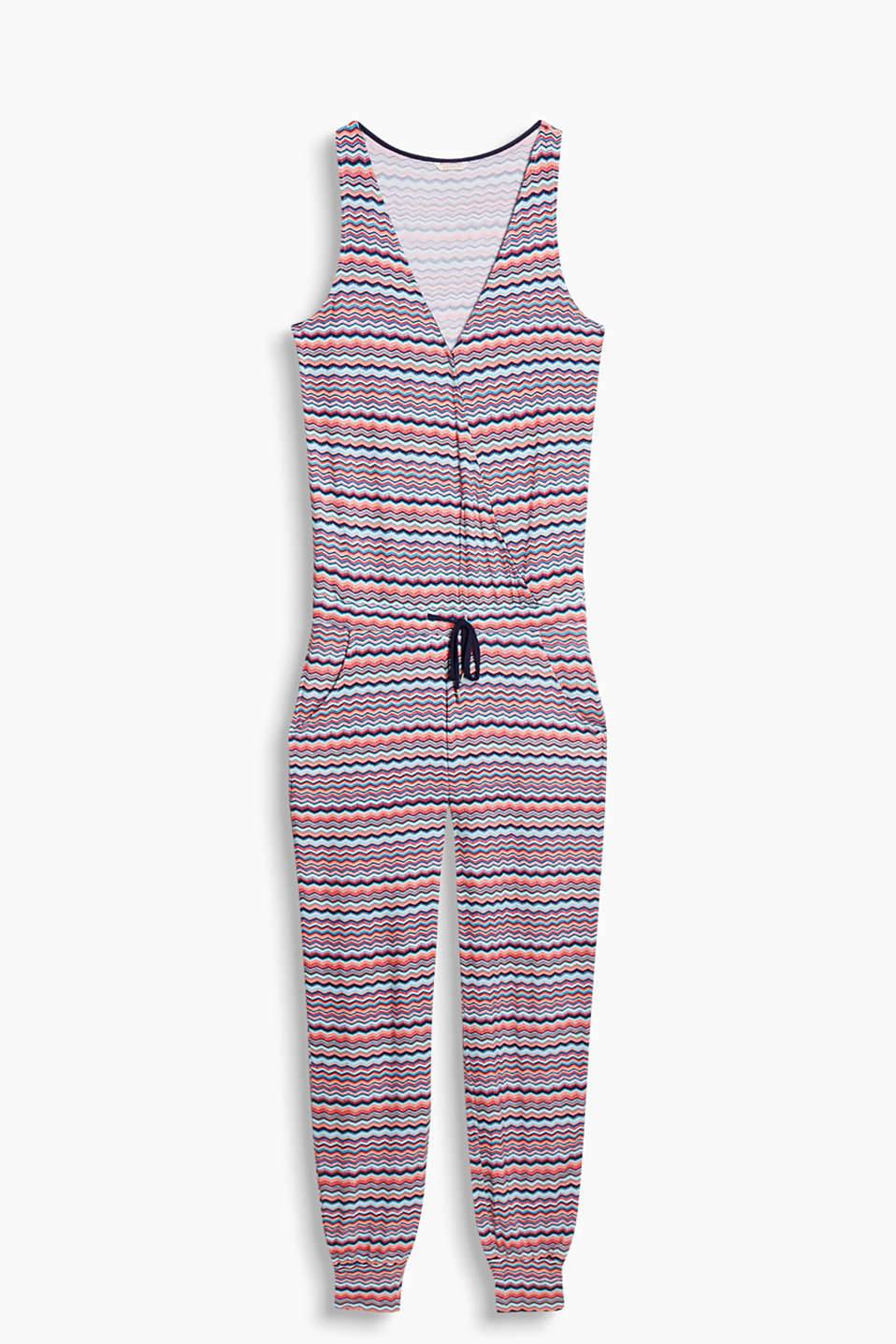Jumpsuit with a colourful zigzag print, fixed wrap-over effect, drawstring waist and hem cuffs, stretch jersey