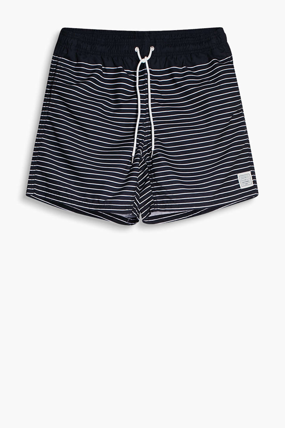 Swim shorts in a nautical striped look with a longer leg
