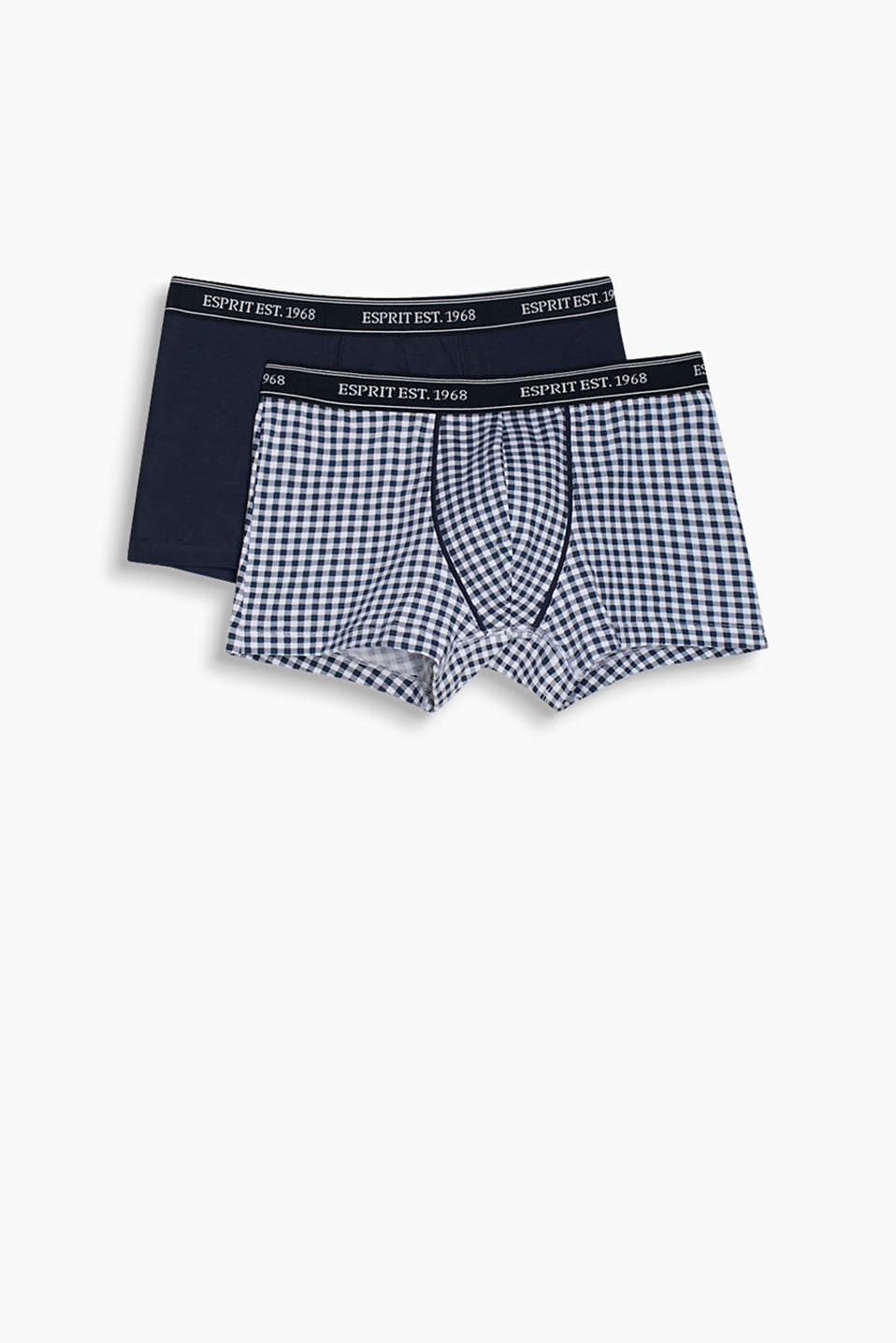 Two pairs of hipster shorts, cotton/stretch