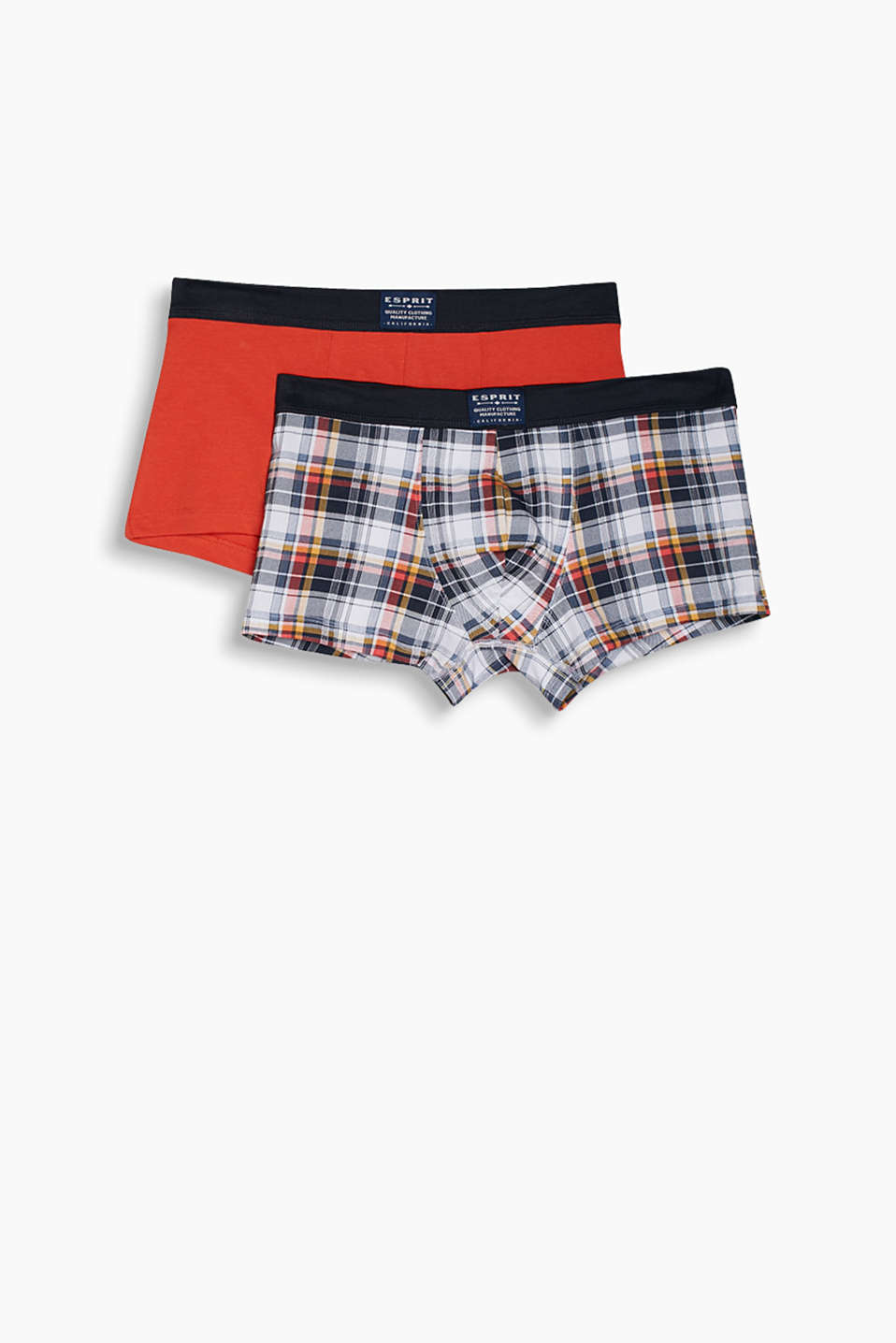 Boxers taille basse en coton stretch en version unie et à carreaux, en lot de 2 pratique