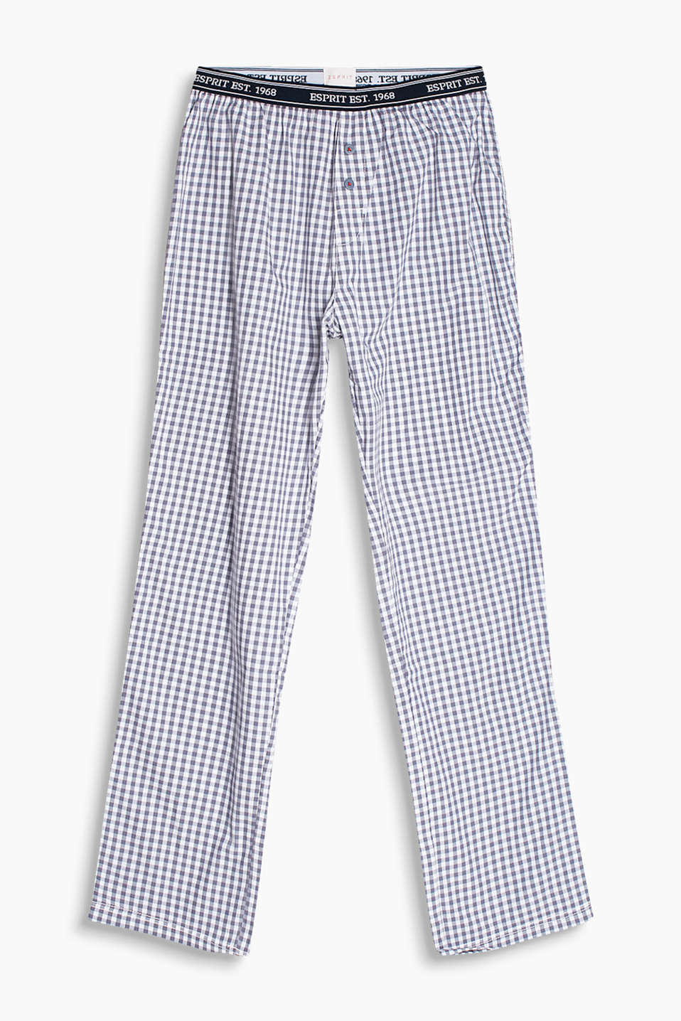 Woven pyjama bottoms with gingham check and an elasticated logo waistband, 100% cotton