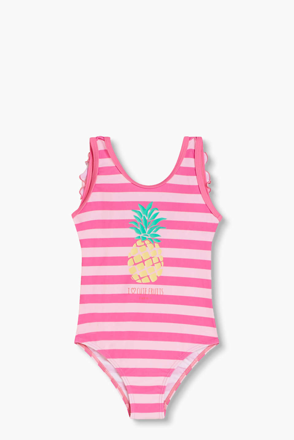 with a pineapple print and frilly straps