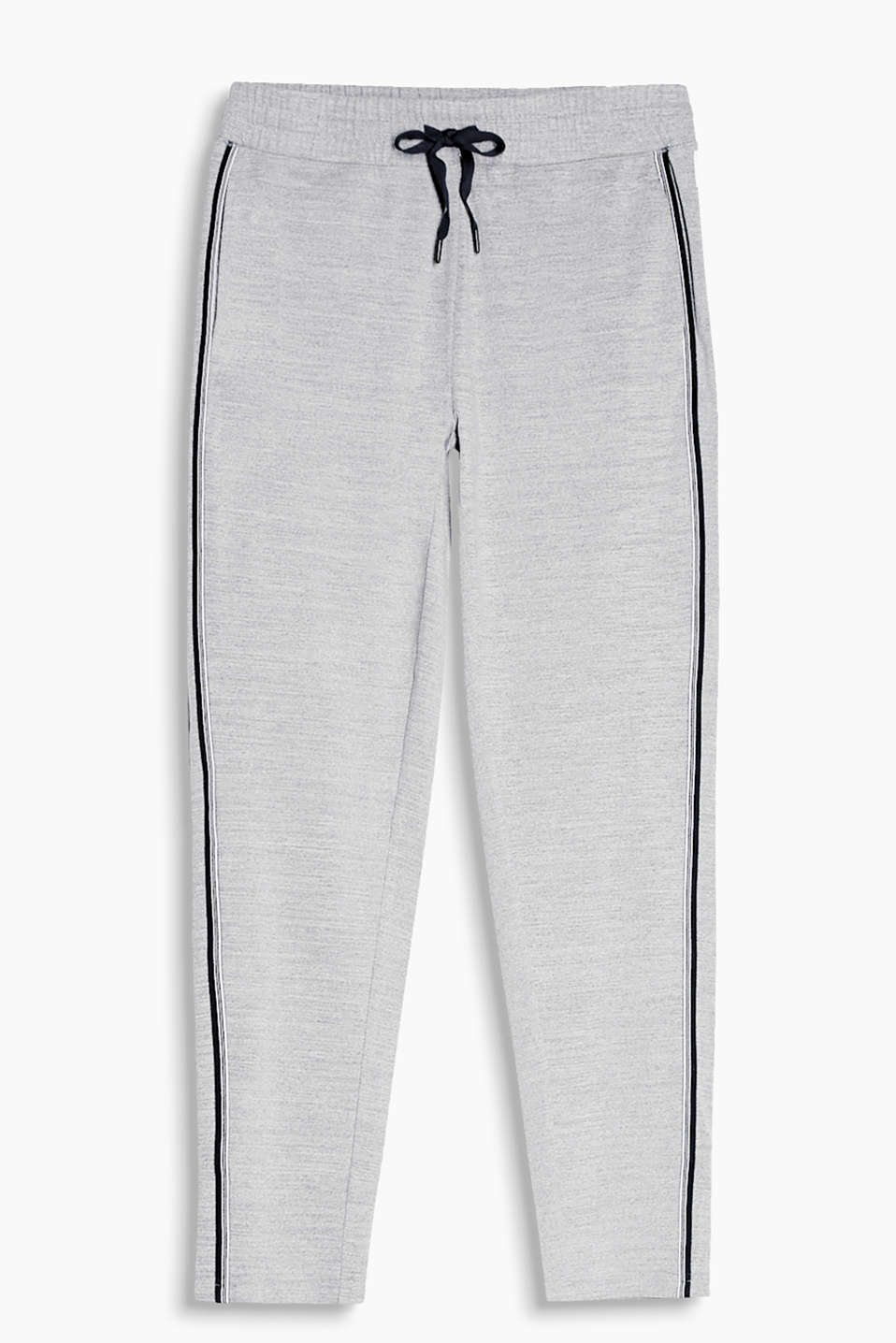 Melange active trousers with woven tape appliquéd at the sides, E-DRY