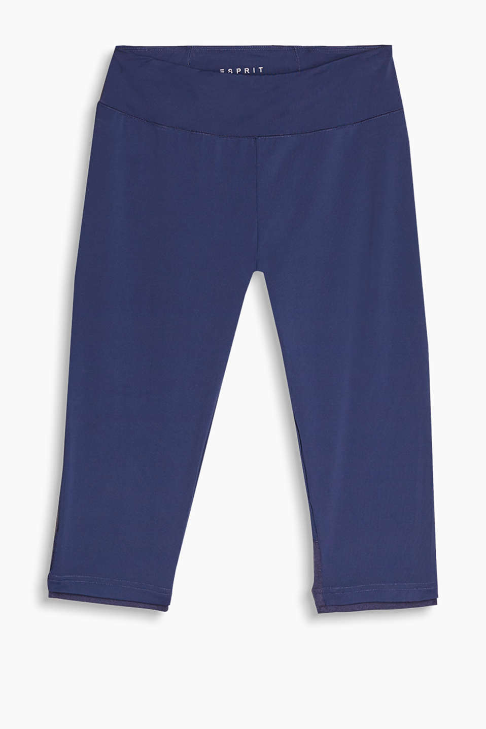 Training capris with a small zip compartment at the waistband and sporty decorative stitching