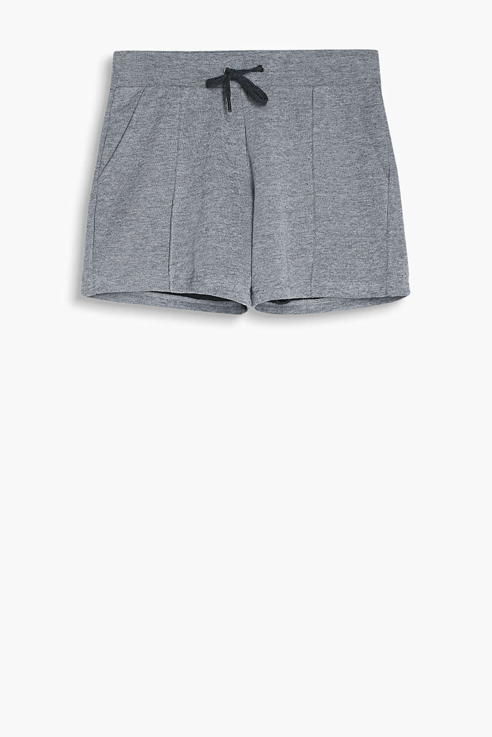 Fashionable sweat shorts in a two-tone look in blended cotton