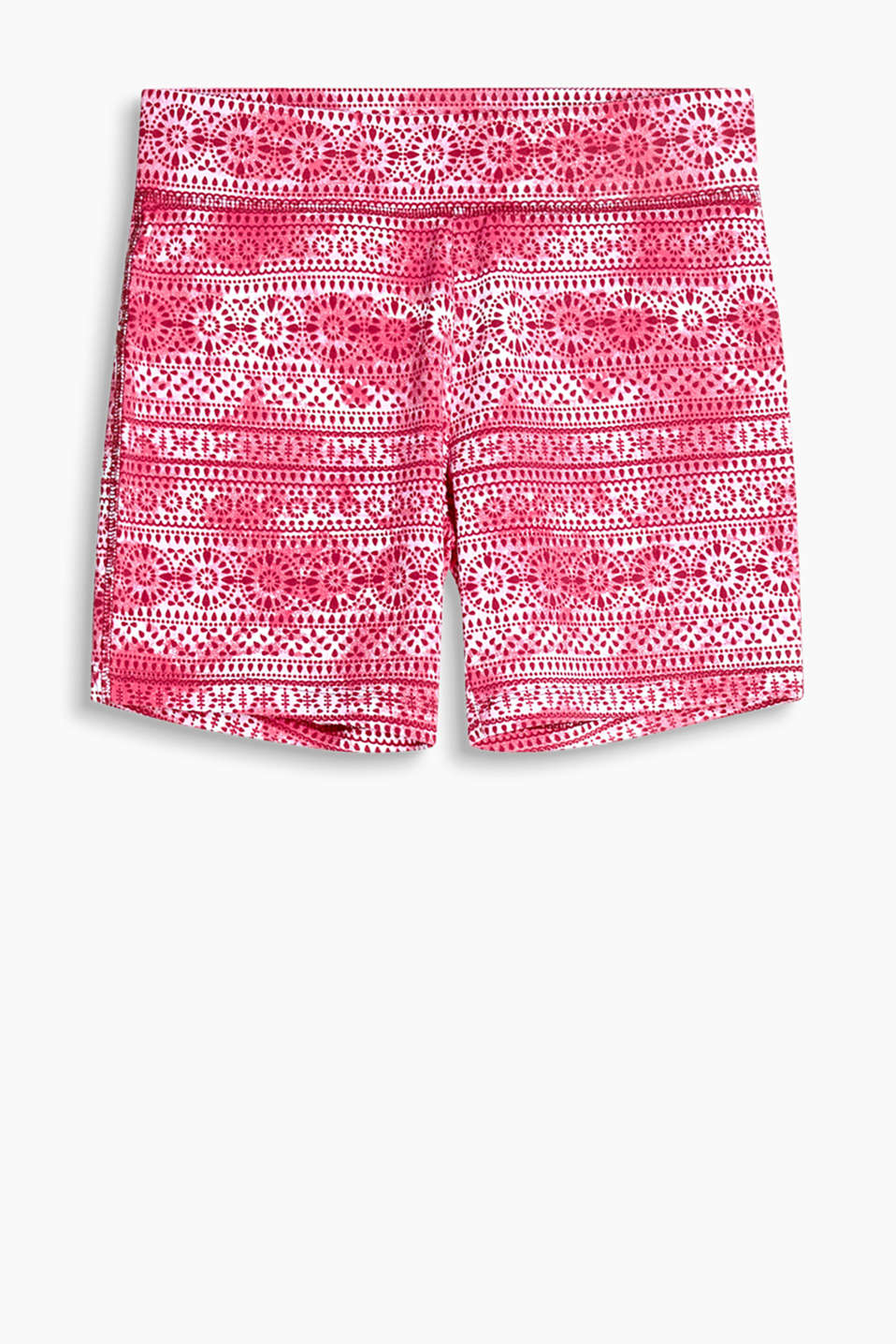 Batik shorts with an ornamental print and an extra wide elasticated waistband, stretch jersey