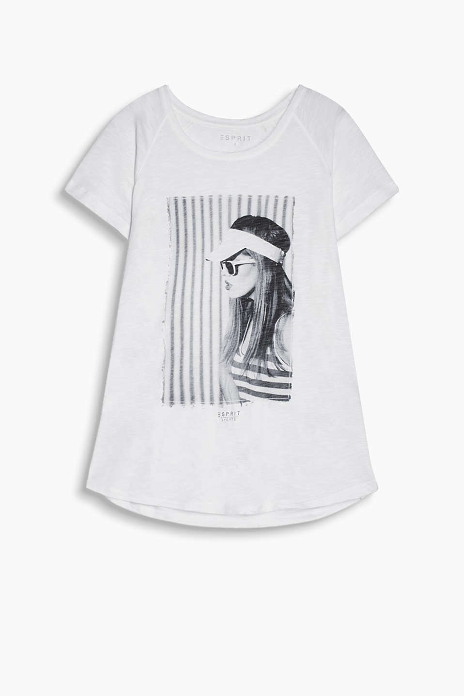 Airy slub jersey T-shirt with photo print and raglan sleeves