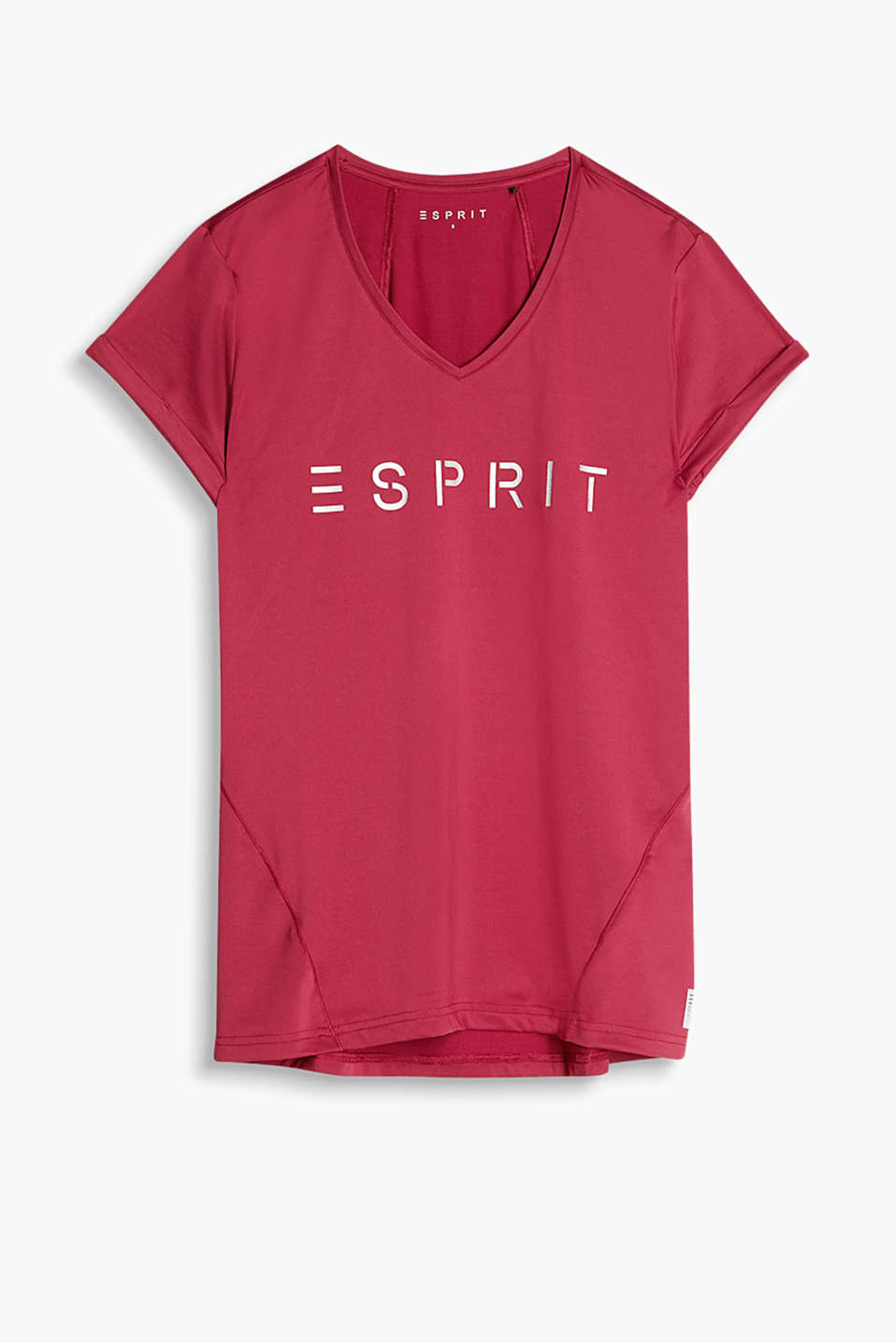 Silky V-neck T-shirt with reflective logo print, E-DRY