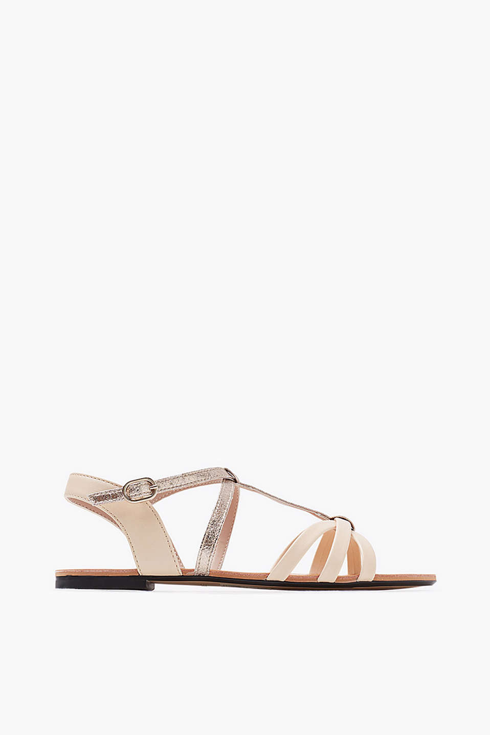 In faux leather with metallic detail: T-bar sandal with contrast slingback strap