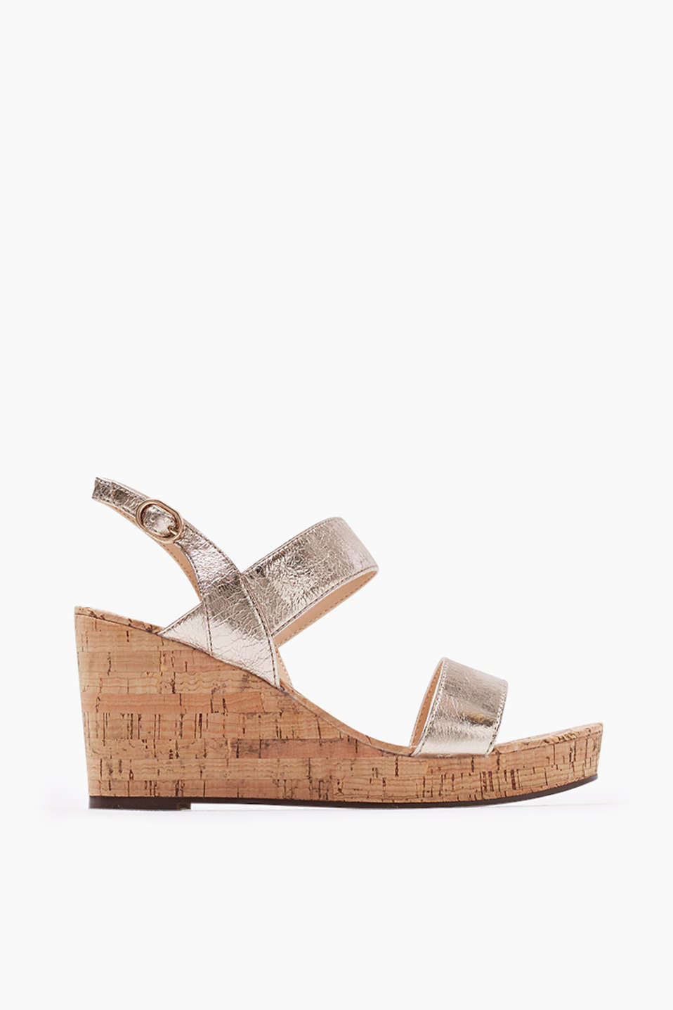 Sandal with wedge heel in metallic-look creased faux leather