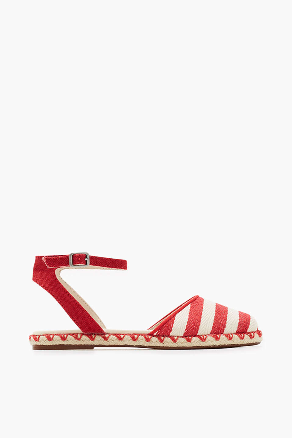 Closed sandals in an espadrilles look with a bast trim, stripes and ankle straps
