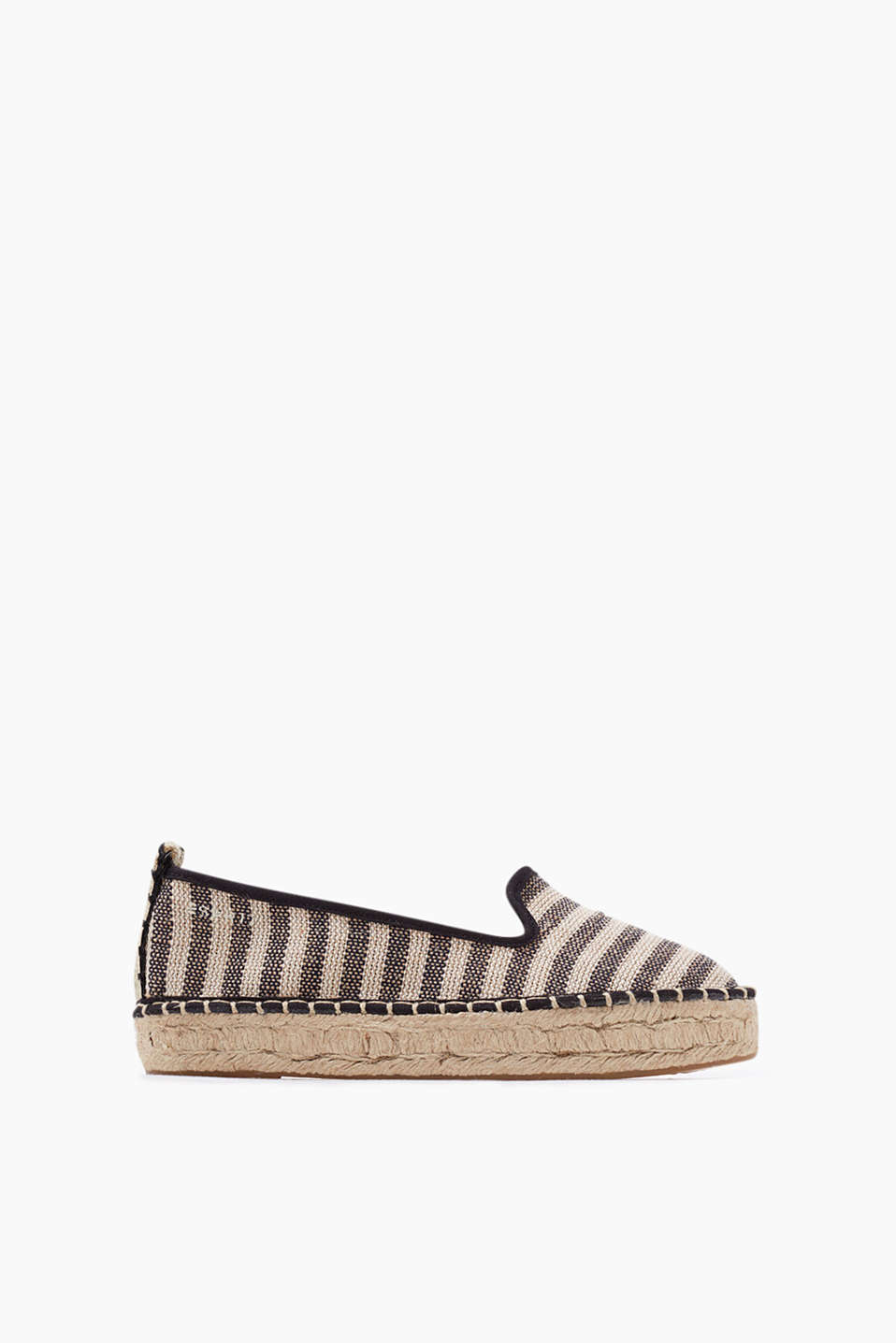 Striped espadrilles in cotton canvas with a high bast sole