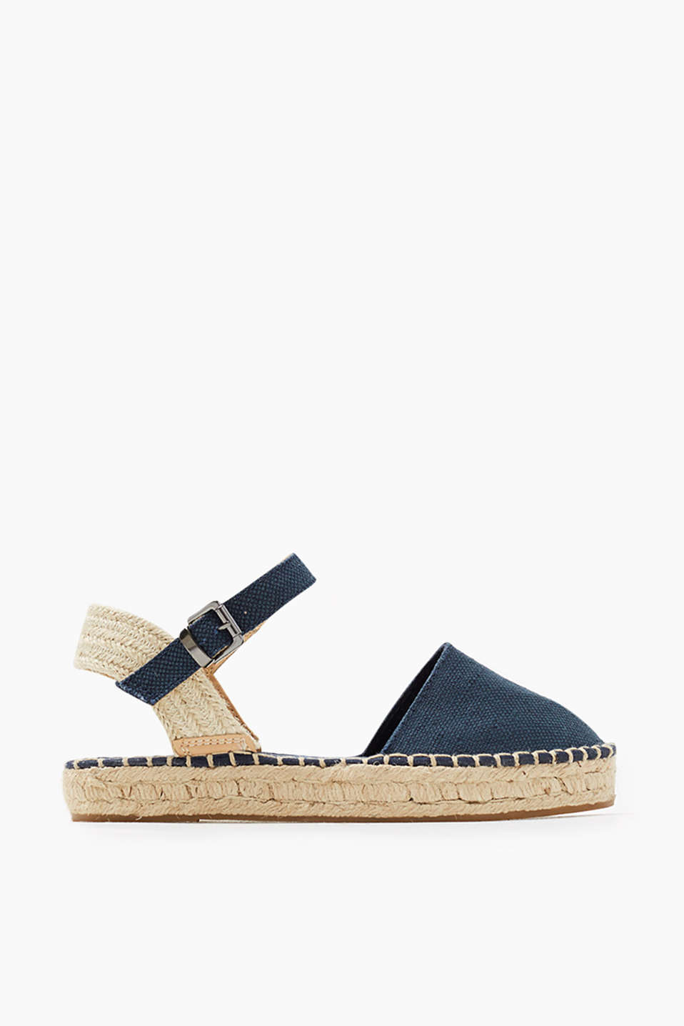 Espadrille-style sandals with a rubberised bast sole