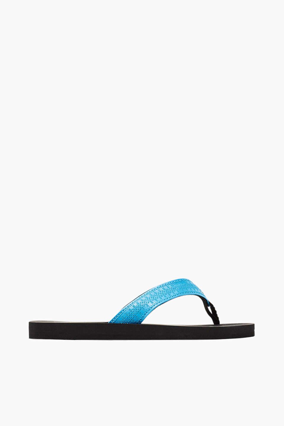 City slip slops with straps in perforated faux leather
