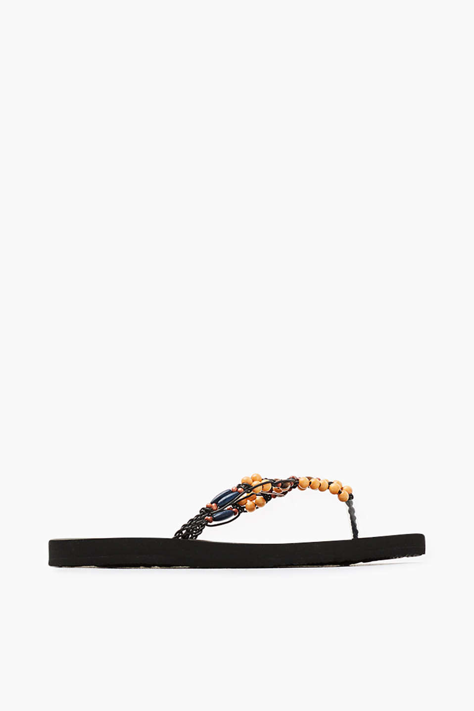 City slip slops with braided straps and a wooden beaded trim