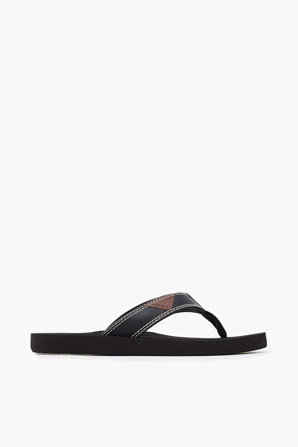 With textured neoprene straps: city slip slops in rubber