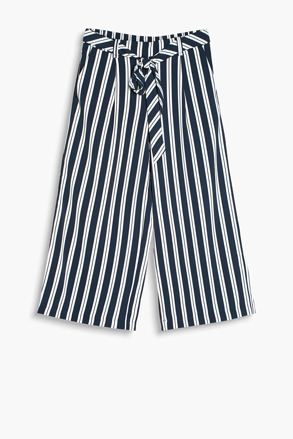 Striped culottes with an innovative waistband featuring elastic at the back and a fixed tie-around belt at the front