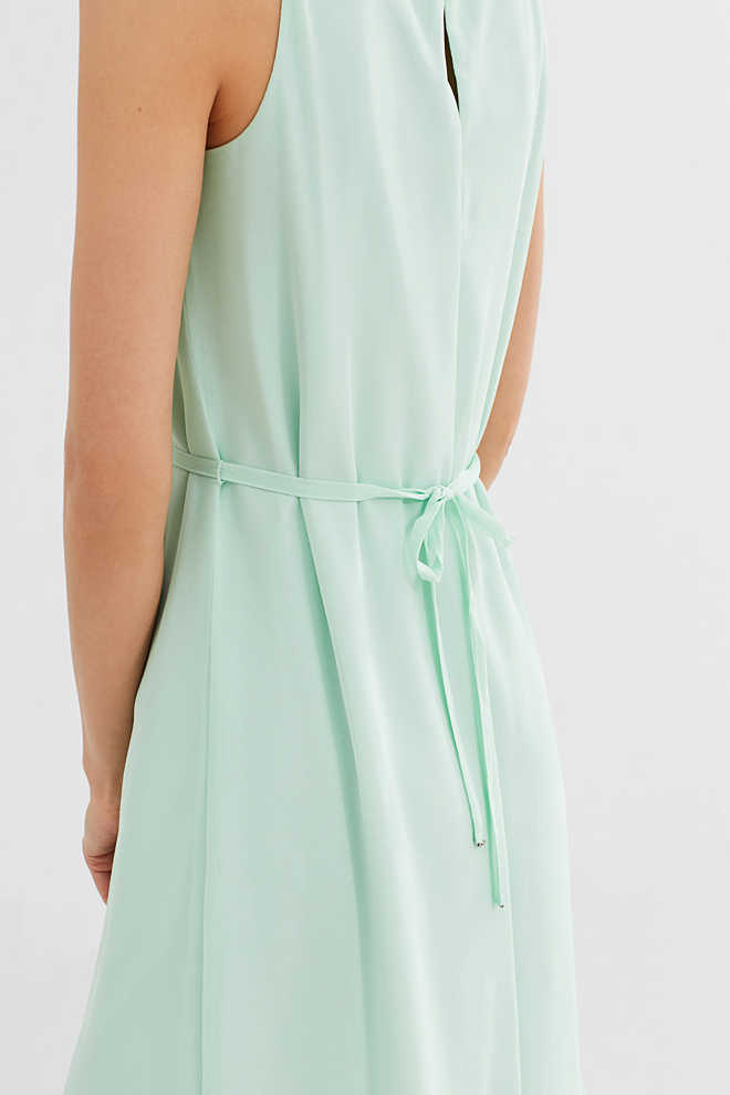 Esprit / Chiffon dress with embellished neckline