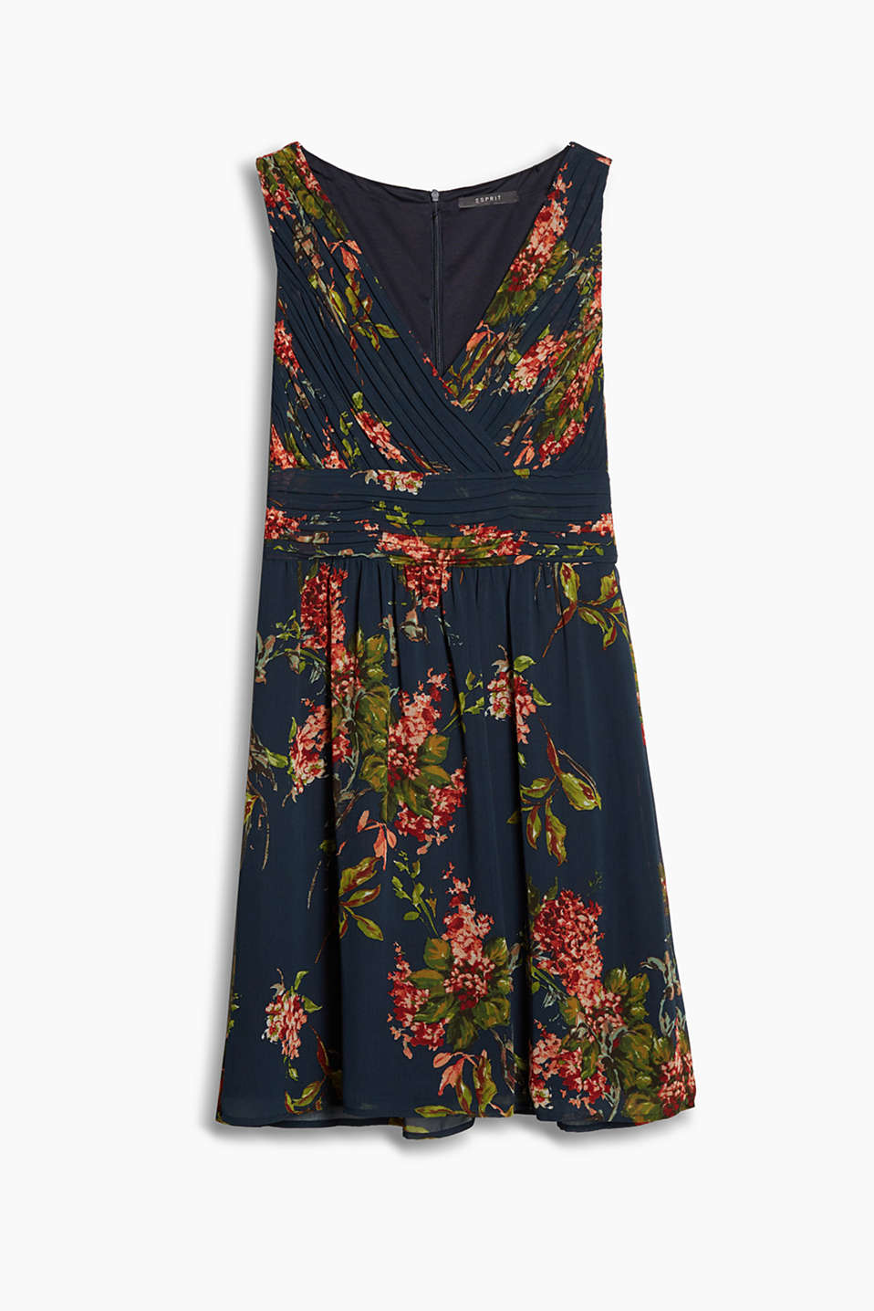 Fitted chiffon dress with a floral print and pleat details