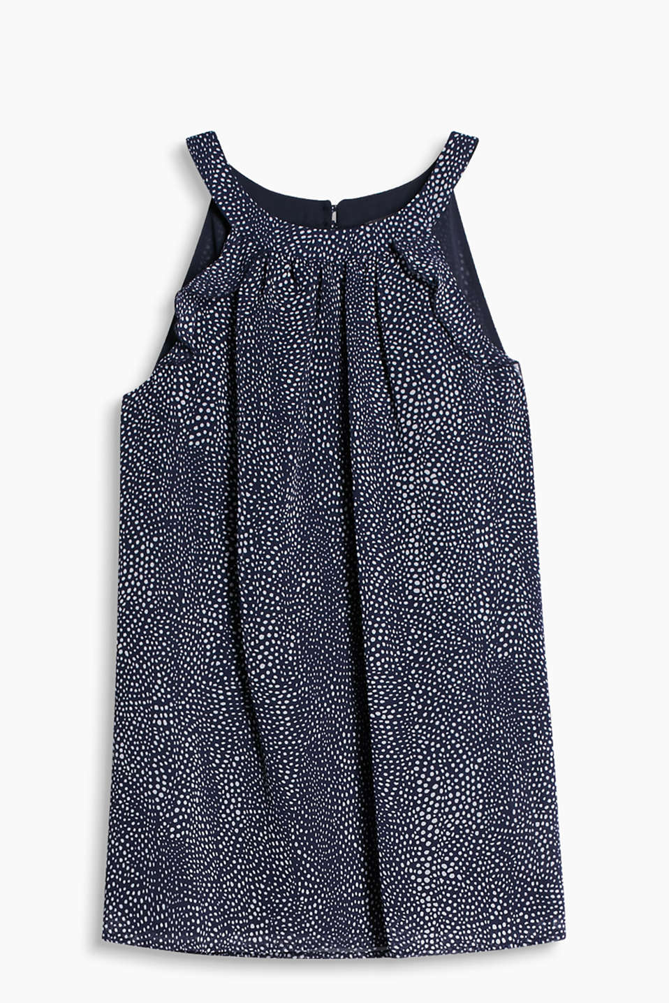 Delicate chiffon top with cut-away shoulders and a modern polka dot pattern