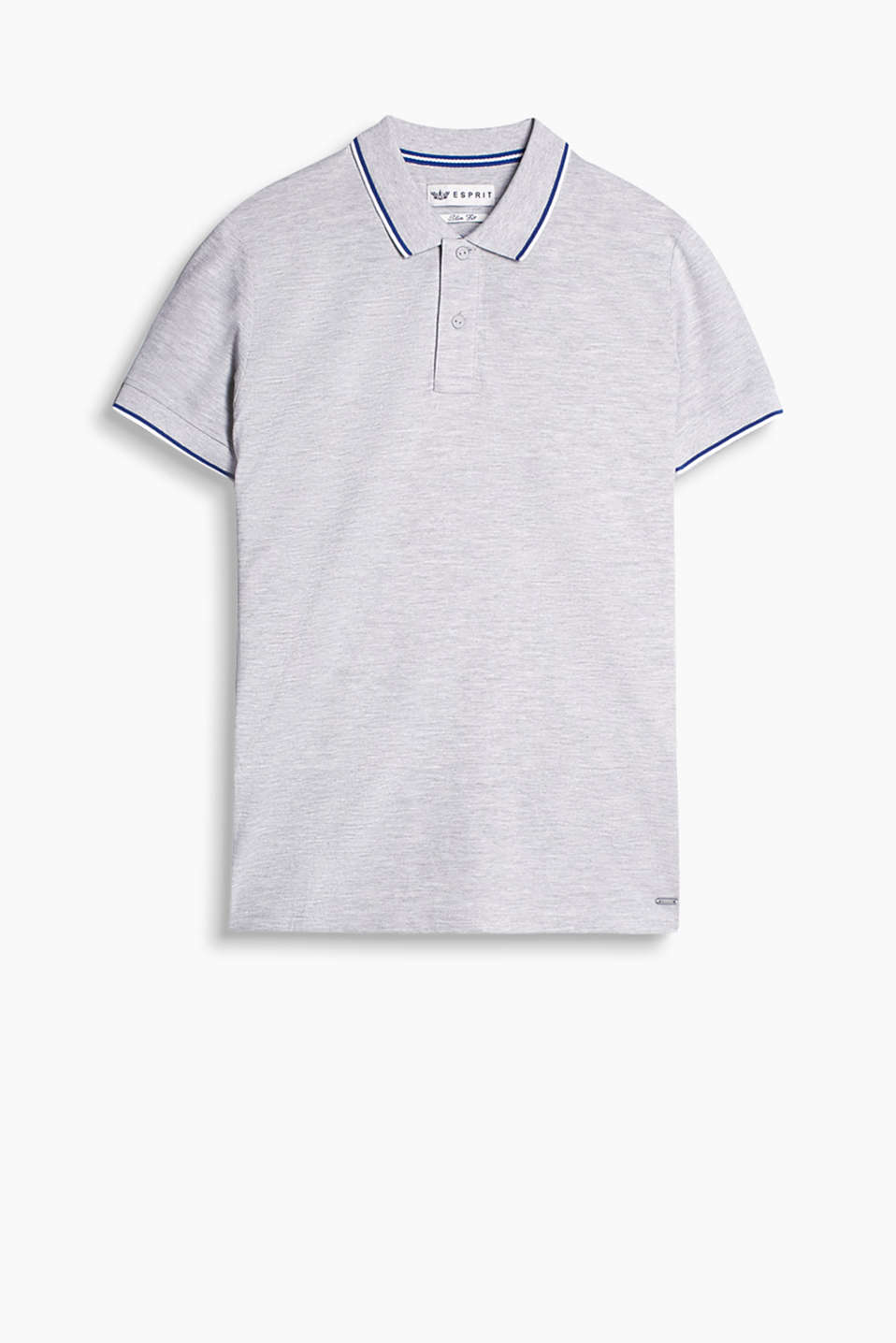 Polo shirt in blended cotton with nautical stripes on the collar and sleeve ends