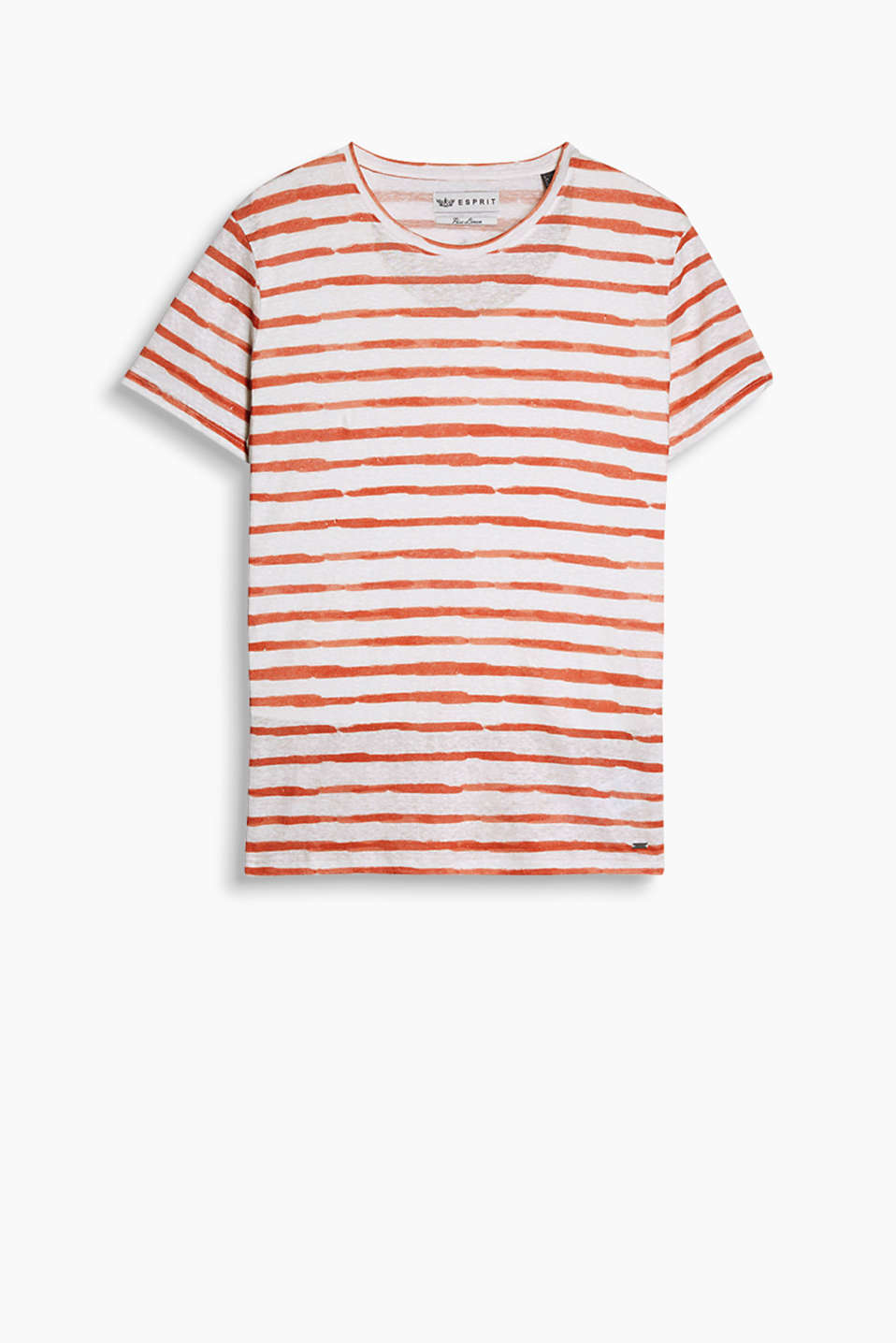 Striped T-shirt with a subtle sheen and slub texture