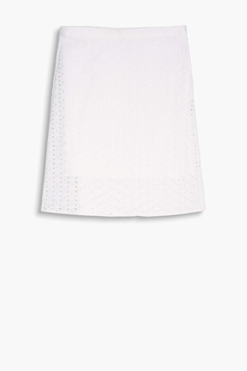 Flared cotton broderie anglaise skirt with opaque lining