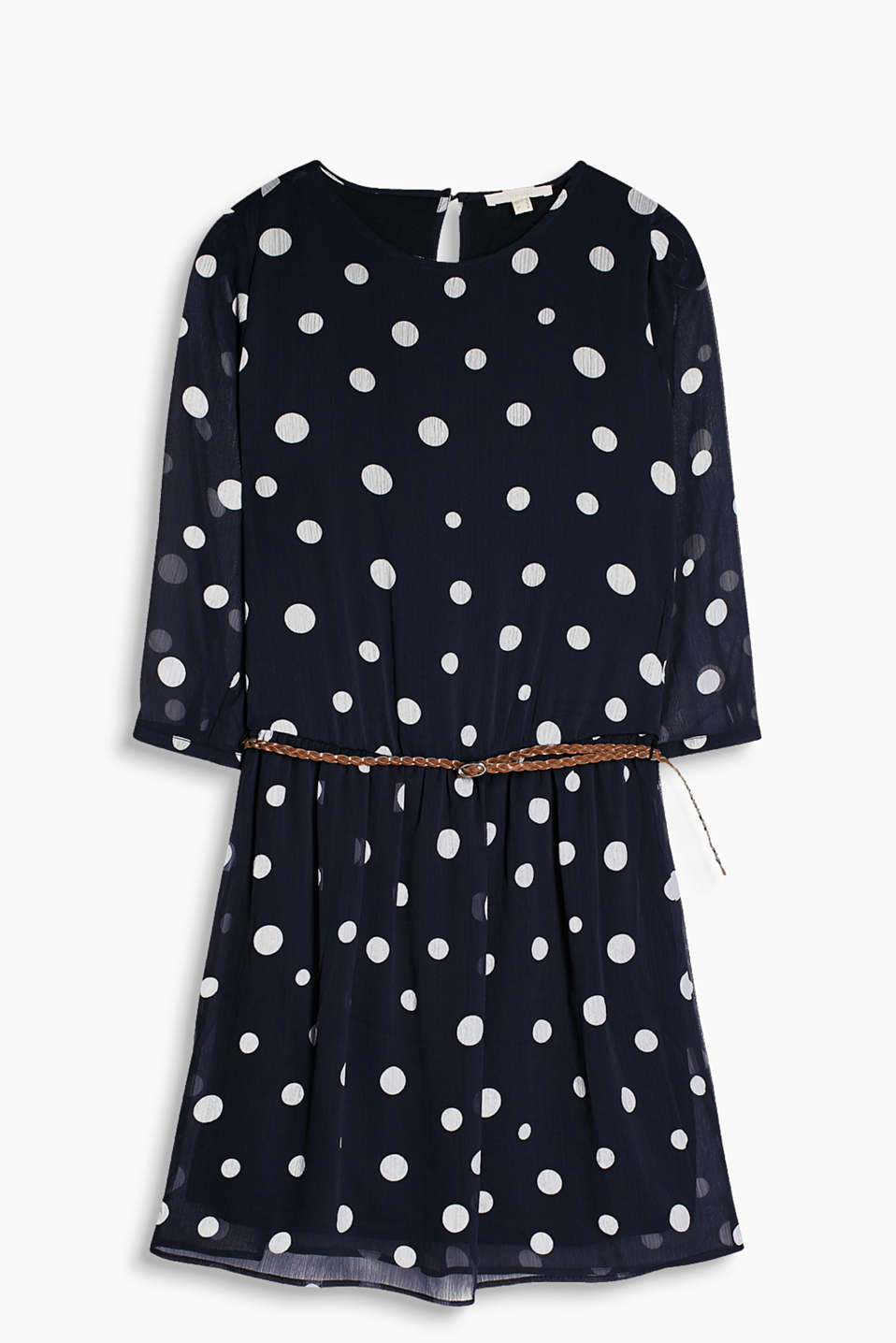 Show off your polka dots! Chiffon dress with a pretty polka dot print and accentuating belt