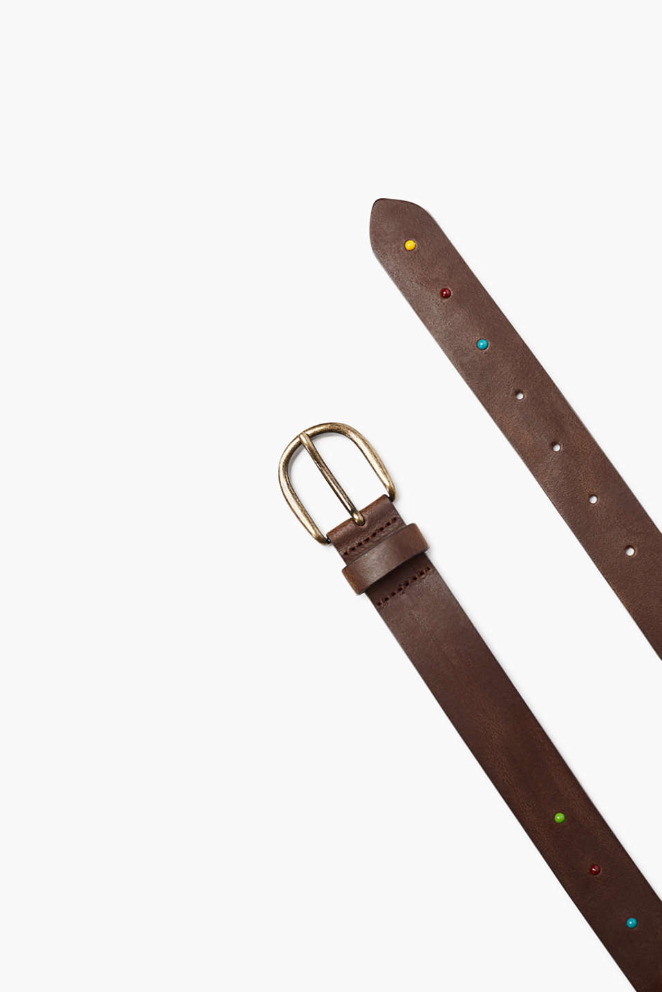 Belt with metal buckle made of cowhide leather