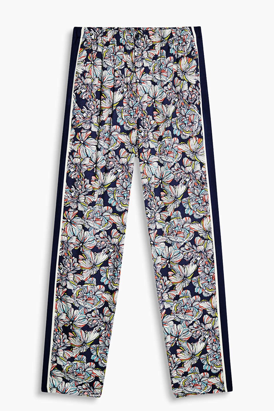 Flowing print trousers with galon stripes and an elasticated waistband