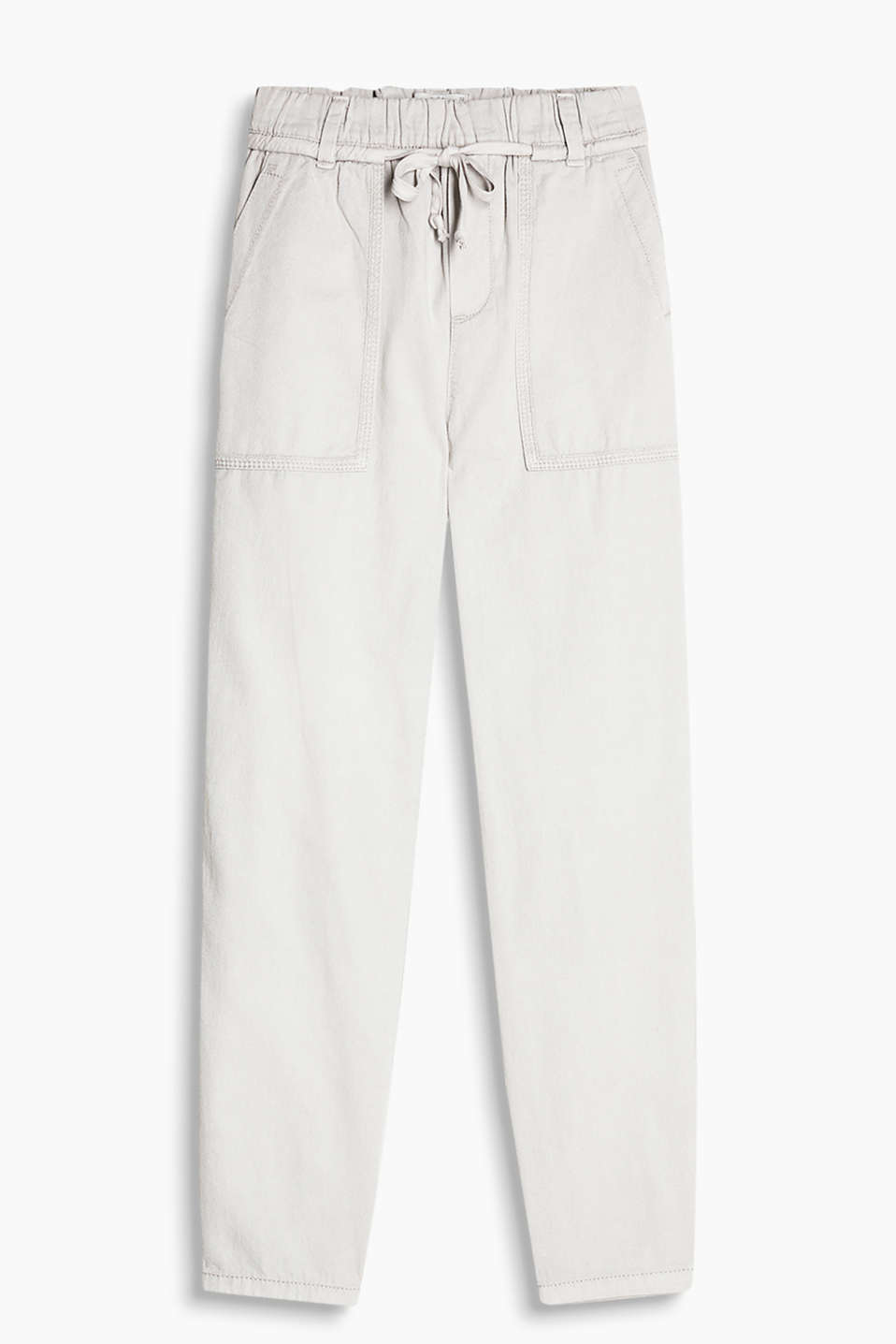 Pure cotton tracksuit bottoms with a wide, elasticated waistband and patch pockets at the hips