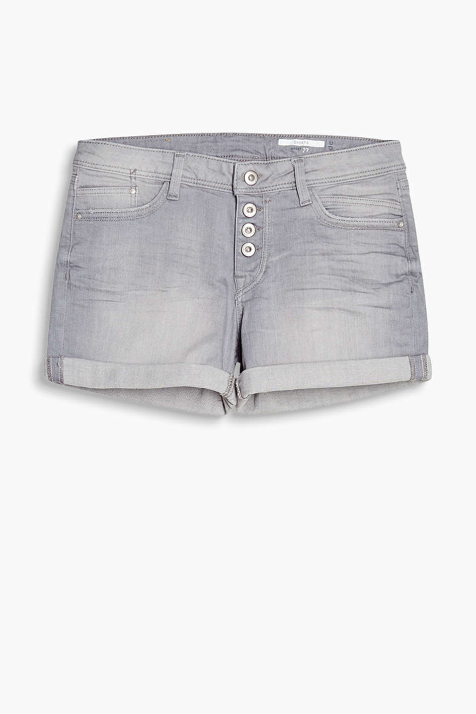 Denim shorts in cotton with a percentage of stretch with urban garment-washed effects and whiskering