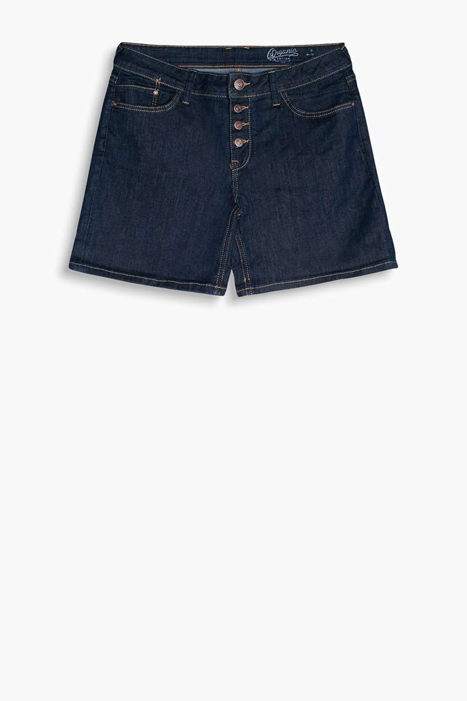 Dark-Denim-Shorts mit Knopfleiste und Stretchkomfort, Organic Cotton
