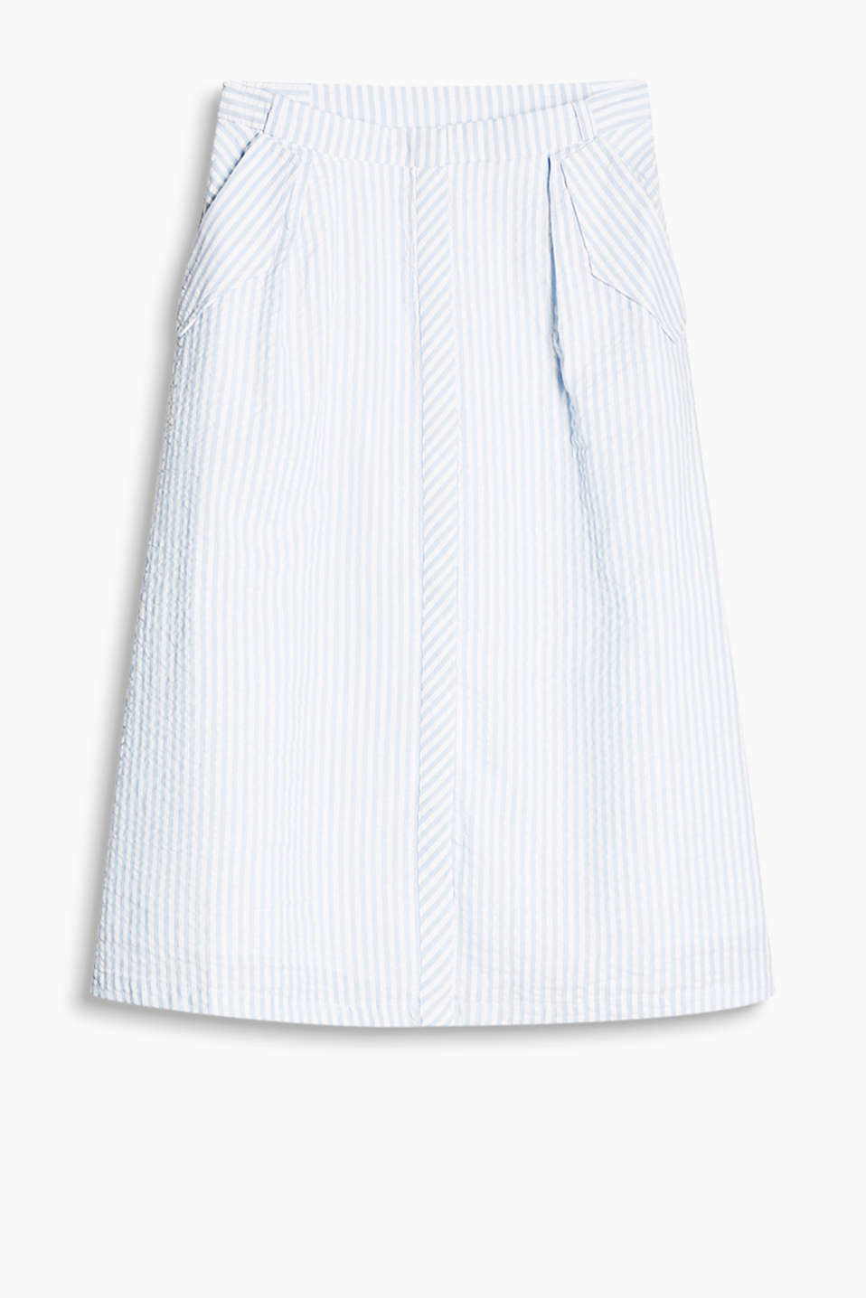 Floaty, flared cotton skirt with fine stripes, slit pockets and a concealed button placket