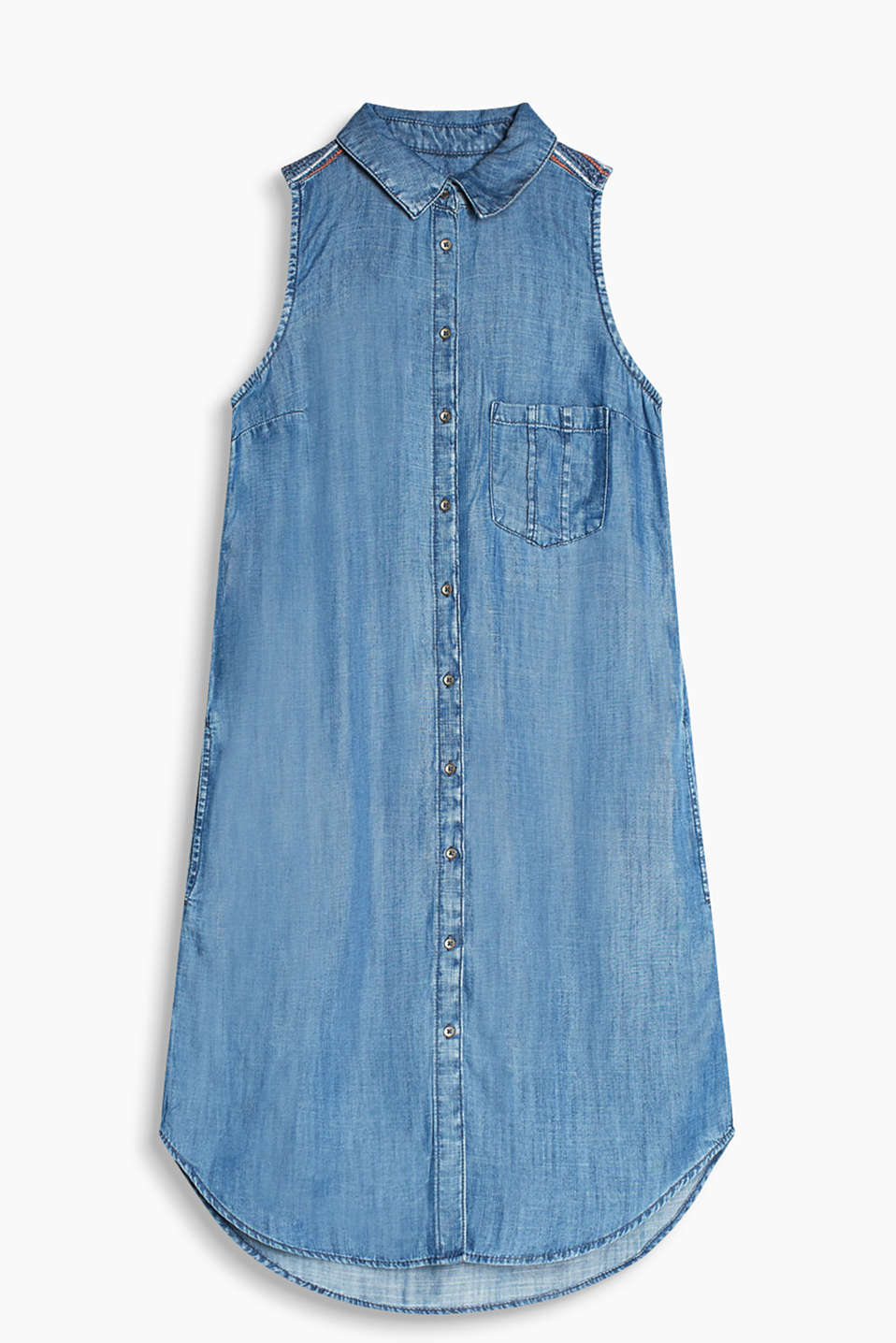 Sleeveless shirt dress made of flowing denim with an embroidered shoulder yoke