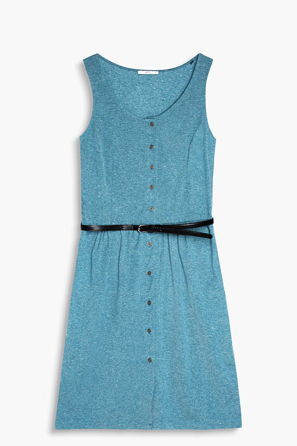 Jersey dress in a melange look with a belt and a full-length button placket