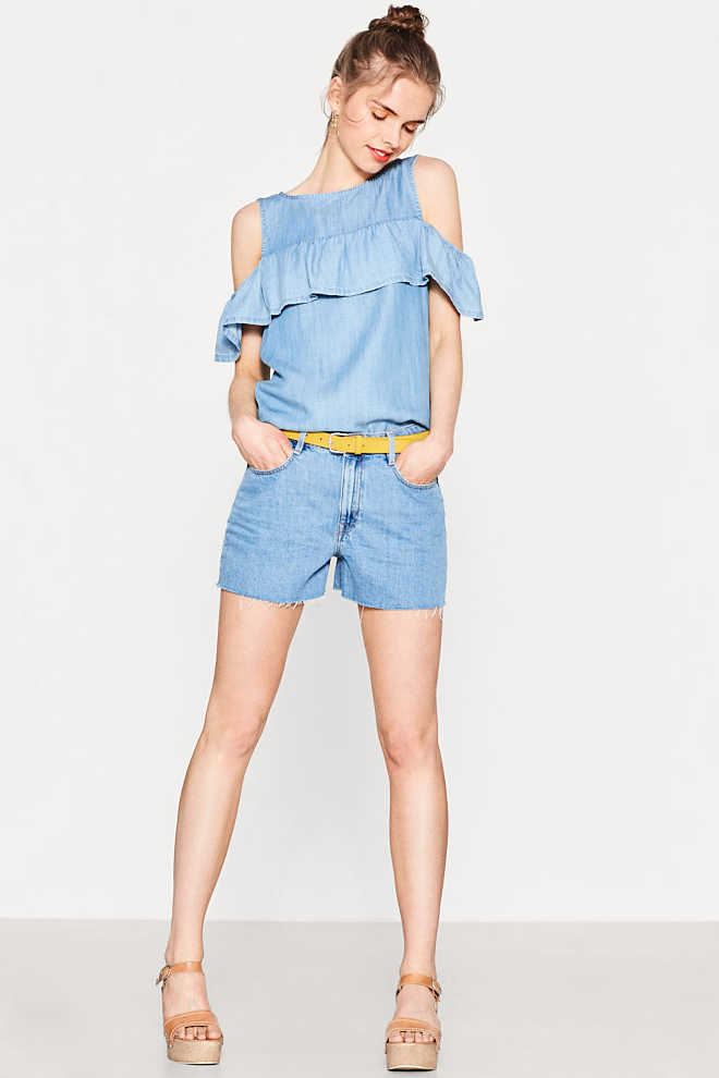 EDC / Cut-out-Bluse aus Sommer-Denim