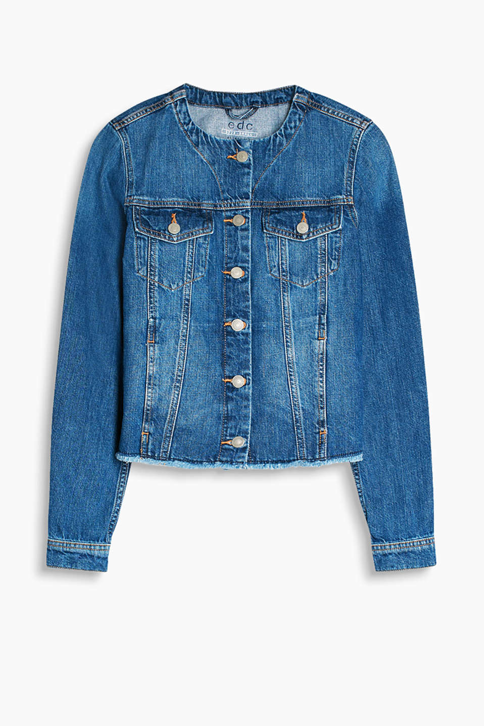 Denim jacket with a casual garment wash and a round neckline and frayed hem, 100% cotton