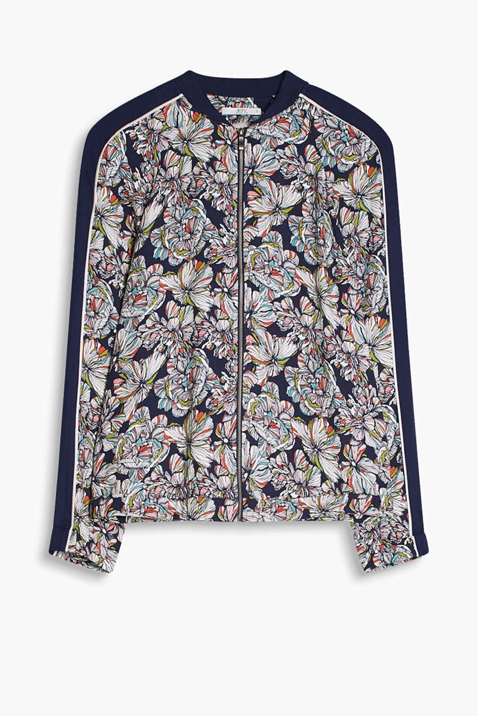 We love it! Flowing bomber jacket with evocative floral print