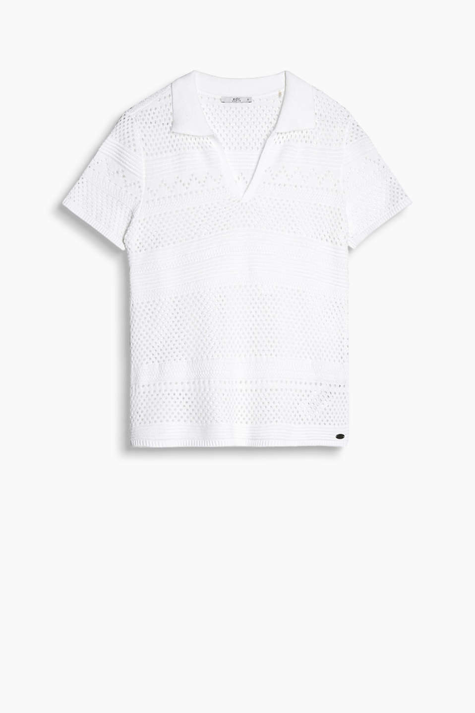 Polo shirt in a see-through look made of 100% cotton