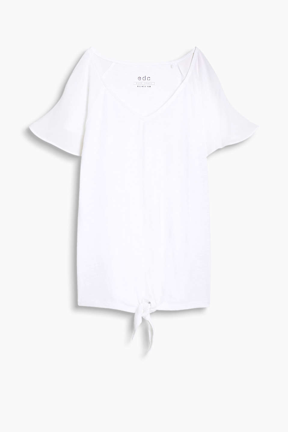 Feminine T-shirt with a knotted hem and raglan sleeves made of crêpe fabric