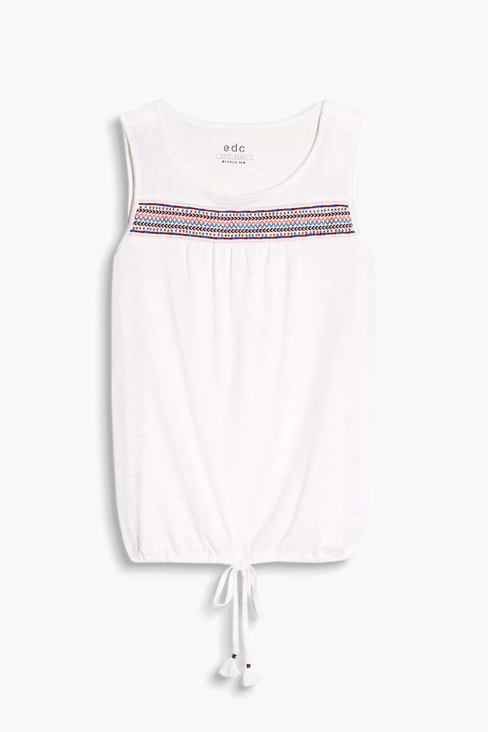 Flowing jersey top with ethnic embroidery and a drawstring hem