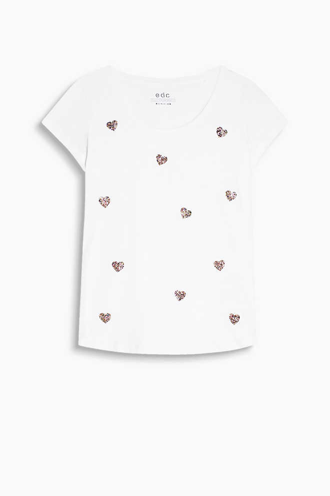 EDC / Cotton T-shirt with glitter hearts